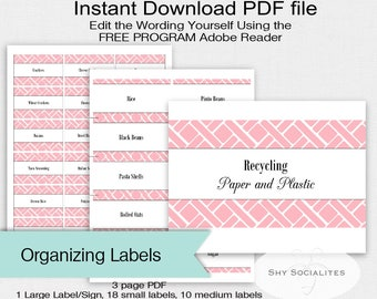 Pink Pantry Labels | Organizing Labels | Editable Labels | Tags | Editable PDF | Instant Download