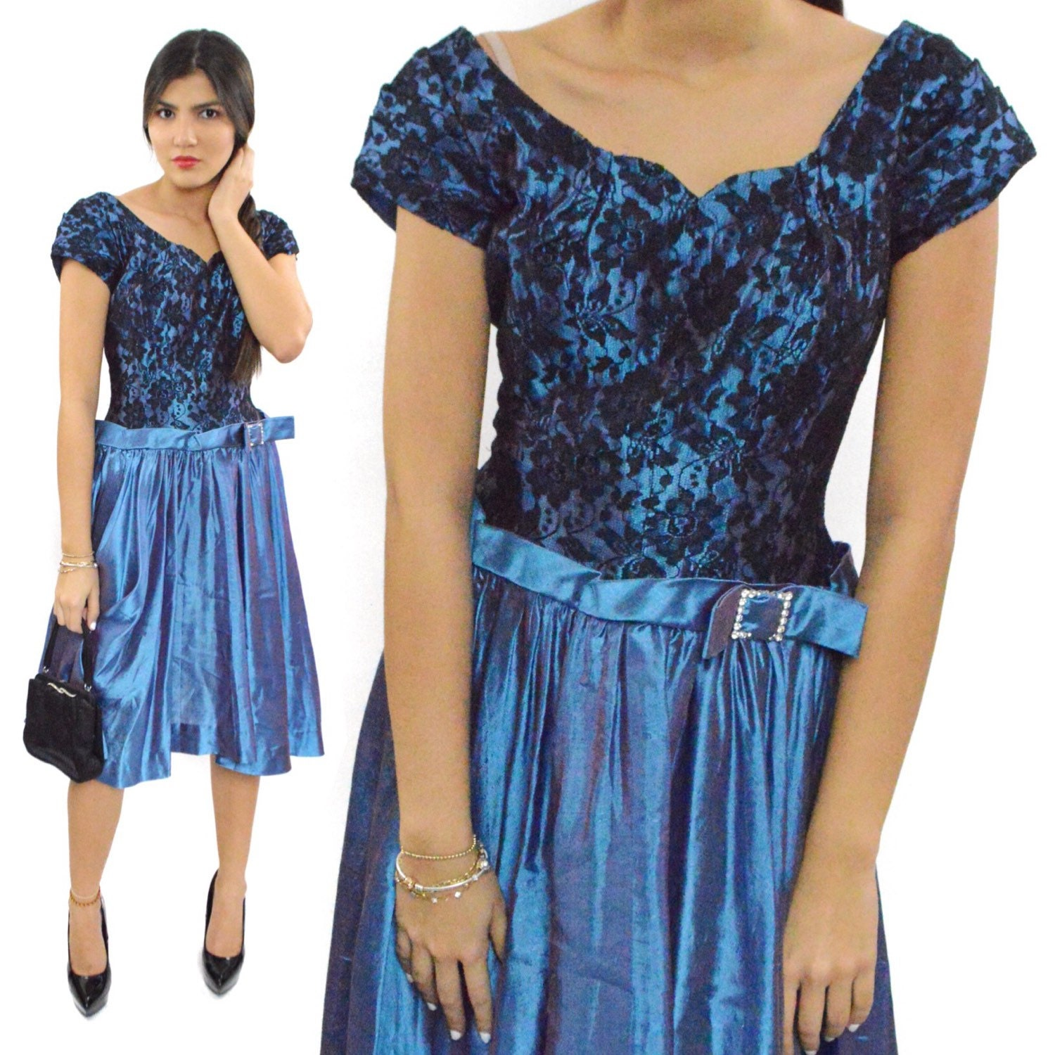 Vintage 50s Floral Lace Blue Cocktail Party Sexy Pin Up Elegant Gala ...