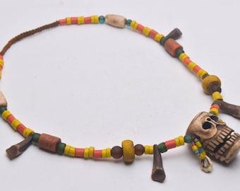 Unique style Bone head Pendant Ethnic NAGA Necklace with Colorful Glass Beads, yak teeth,Ethnic Jewelry,folk art,Asian art, unique bone bead