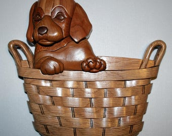 Intarsia Puppy in a Basket