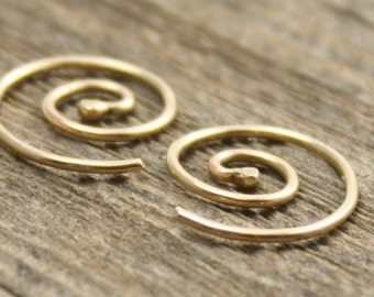 Tiny Spiral Earrings in 14k Gold