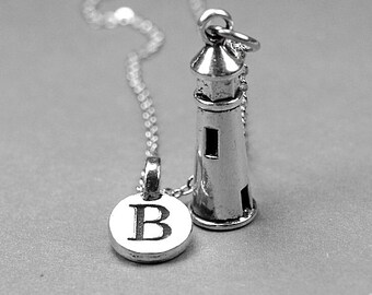 Lighthouse Necklace, house light charm, antiqued silver plated pewter, initial necklace, initial hand stamped, personalized, monogram