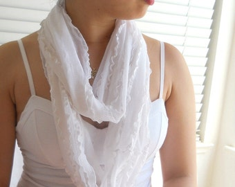 Endless Infinity Scarf, Titanium White Lace Ruffled
