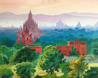"Original painting ""Bagan, Myanmar"""