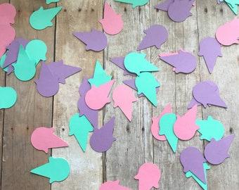 Ice Cream Cone Confetti/Table Decor, Set of 45 pieces in Pink, Mint and Purple