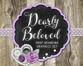 Country Chalkboard Shop Branding Banners, Avatar Icons, Business Card, Logo Label + More - 13 Premade Graphics Files - DEARLY BELOVED