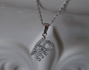 Sterling Silver LOVE Heart Rhinestone CZ Valentine's Day Necklace; Valentine's Day Necklace; Bridesmaid Necklace; Valentine's Day Necklace