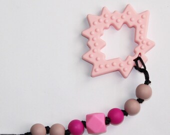 Maple leaf teether and clip