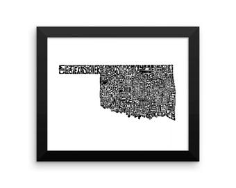 Oklahoma typography map art FRAMED print customizable personalized custom state poster wall decor engagement wedding housewarming gift