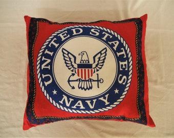 USN United States Navy Military Emblem Handmade Pillow