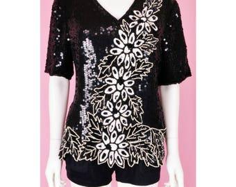 80s Black Sequins Blouse /  Vintage 1980s Black & White Sequins Dressy Top / Small