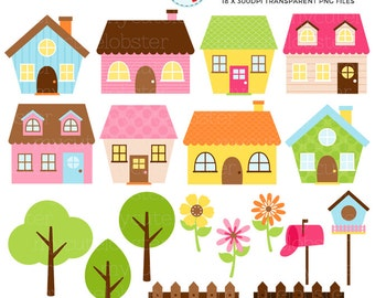 Little Houses Clipart Set - house clip art set, flowers, trees, fences, birdhouse - personal use, small commercial use, instant download