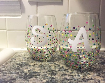 Personalized Initial Dotted Stemless Wine Glasses- Set of two