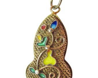 Chinese Silver Filigree Pendant with Enameling and Gold Vermeil Vintage
