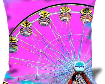 "Playland 1 22""x22"" Velveteen Pillow Cover Playland Park Rye NY"