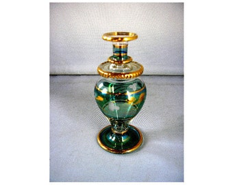 Vintage Bohemian Glass tiny bud vase perfume bottle decorative glass green and gold gilt delicate ornamental glass collectible