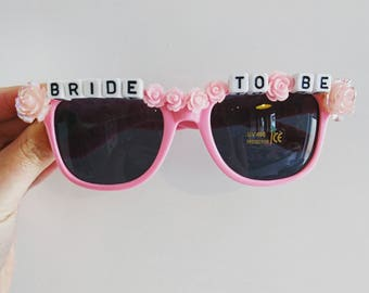Gorgeous Hand Embellished Hen Do / Party, Stag Do ~ 'BRIDE TO BE' Sunglasses with flower Cabochons, Crystals, Pearls  ~ made to order
