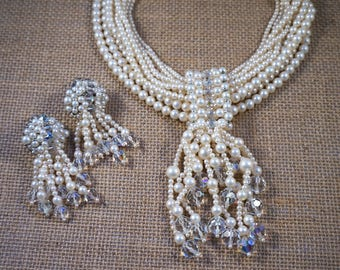 1950's Designer Vendome Aurora Borealis Crystal and Faux Pearl Torsade Dangle Necklace and Earrings Set