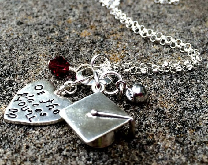 Oh the Places You'll Go - Dr Suess Quote Necklace in Sterling Silver with Charms, Freshwater Pearl, Swarovski Crystal, Can be Personalized