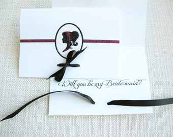 Will You Be My Bridesmaid- maid of honor - matron of honor - flower girl Card with Cameo