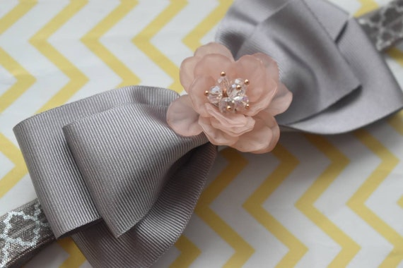 Silver Grosgrain Ribbon Bow with pink flower rhinestone - Baby / Toddler / Girls / Kids Headband / Hairband / Hair bow / Barette / Hairclip