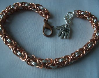 Copper and silver plated copper Byzantine chainmaille bracelet