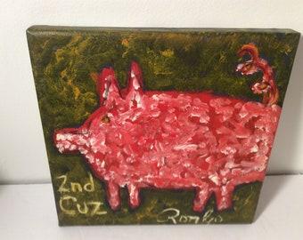 RonGo Origianl Art - Outsider Art Folk Art pig