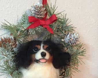 Custom made needle felted dog lighted Cristmas wreath