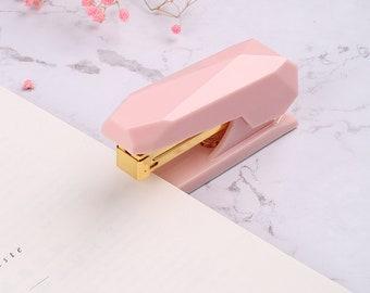 Pink and Gold Gem Shaped Stapler, Pink Desk Accessories, Cute Office Supplies, Home Office Supplies, Cute School Supplies, Staplers