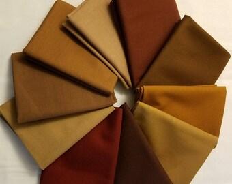Shades of Brown Kona Cotton Bundle, Solid Brown Fabric, Robert Kaufman Fabrics, Choose Your Bundle Size