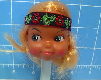 """Vinyl Indian Girl Doll Head Blonde Rooted Hair, Black with Red Trim and Flowers Headband, 3"""" Tall with 3/4"""" Neck"""