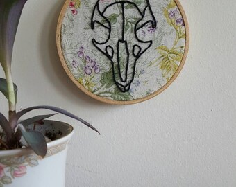 Embroidered Mouse Skull