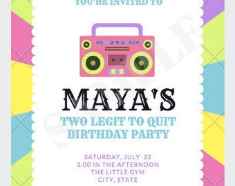 Invitation - 1980's - Birthday Party - Baby Shower - Infant - Two Legit To Quit - Neon Colors - Birthday