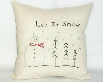 Pillow Snowman, Christmas Winter Decor, Stitchery Pillow, Original Designed, Home Decor, Primitive Decor, Stitchery, Hand Embroidered, Folk