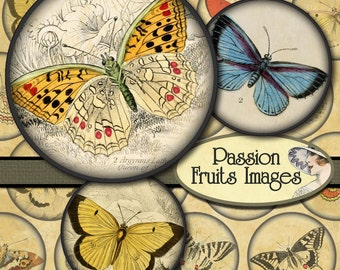 Vintage Butterflies Large 2 inch rounds Collage Sheet-- Instant Download