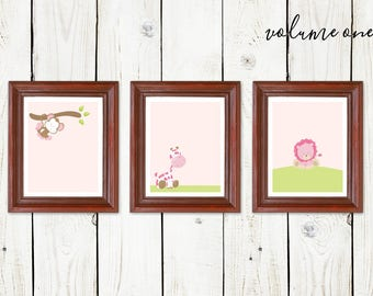 Girls Safari Animals Nursery Wall Art - Printable Baby Shower Gift - Monkey, Giraffe, Lion Prints - Instant Download Digital File JPG & PDF