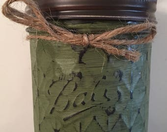 Hand painted mason jar - 8 oz quilted jelly jar