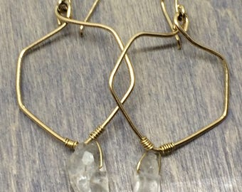 14k gold filled earrings with quartz