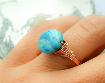 Blue stone ring, Blue Agate wire ring, Agate wire wrapped ring, Stackable Copper wire ring, Blue stone Statement ring, Gemstone ring, Gifts