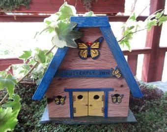 Fairy Garden Miniature House Butterfly Inn Cottage door OOAK fairy house door