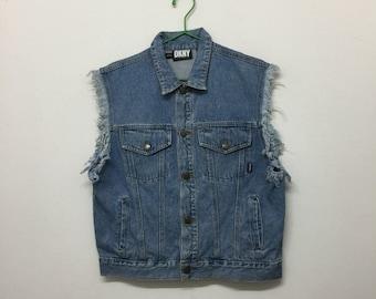 DKNY Sleeveless Denim Jacket/Vintage Donna Karan New York Sleeveless Jacket/Designer/Blue/Size L