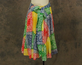 vintage 70s Circle Skirt - 1970s Bandana Print Cotton Gauze Midi Skirt Sz S