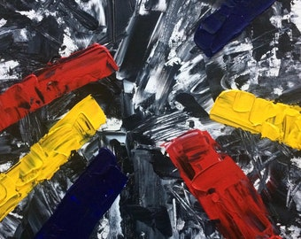 Original Abstract Acrylic Painting by Evan Saenger, Primary Colors on Black Abstract Background, Contemporary Painting, 11x14 inches