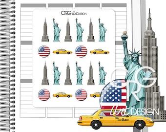 New York Stickers  | Planner Erin Condren Plum Planner Filofax Sticker