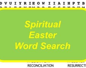Spiritual Easter Word Search Puzzle, Religious Easter Word Search Game, Sunday School Easter Activity, Religious Education Easter Game
