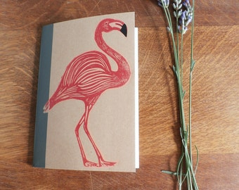 Flamingo Notebook, MUJI, A6 Recycled Notebook, Lined, Hand Printed Linocut, Printmaking, Natural, lined notebook, notebook gift,
