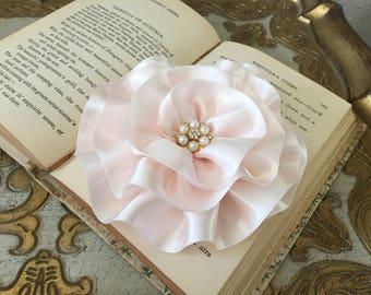 Blush PInk Flower Brooch.Blush PInk Hair Clip.Wedding headpiece.bridal hair piece.hair accessory.Blush fascinator.Ribbon Flower.Pale Pink