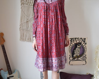 Indian 70's vintage red cotton midi dress
