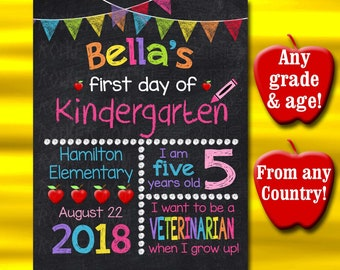 First Day Of School Chalkboard Sign, PRINTABLE Back To School Sign, First Day Of School Sign, Chalkboard Sign Kindergarten Sign, Preschool