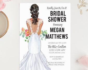 Wedding Gown Bridal Shower Invitation; Bridal Gown; Custom Portrait; Bridal Shower Invitation {DIGITAL DOWNLOAD}